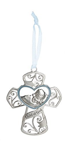 Ganz 4'' Ornate Baby Crib Cross Decor with Ribbon for Hanging (Child of God - Blue) ()