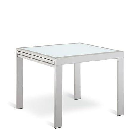 ARREDinITALY Tavolo quadrato allungabile a libro 90 / 180 acciaio ...