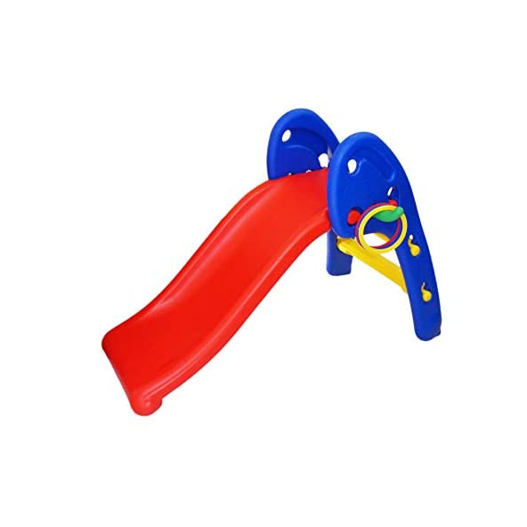 eHomeKart Garden Slide for Kids – Cute Foldable Beginners Slider – with Ring Hoopla – for Boys and Girls – Perfect Slides / Toys for Home, Indoor or Outdoor – 1 Year to 3 Years – L106 x B55 x H72cm