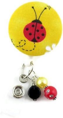 Name Badge Holder RN Nurse Badge Pediatric Nurse Badge Reel Badge Reels Badge Clip Ladybug Retractable ID Badge Holder