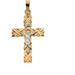14 Carats Or Jaune Pendentif Crucifix 41,5 x 28,5 mm-JewelryWeb