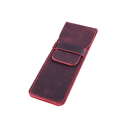 Daimay Leather Pen Case Holder Handmade Fountain Multi Pens Pouch Crazy Horse Leather Pen Protective Sleeve Cover - Dark Red