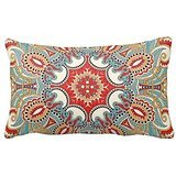 Chic Retro Red Turquoise Teal Kaleidoscope Pattern Home Throw Pillow Case Pillow Case Covers Decorative Cover For Sofa 30X20 Inches (Teal And Red)