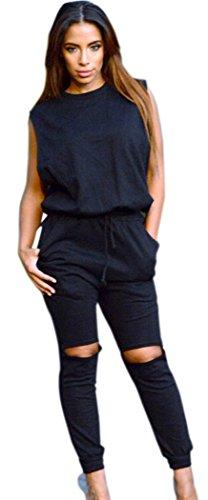 [Blorse Slit Wide Open Jumpsuit (Black)] (Denim Romper Costume)