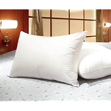 King Size White Goose Feather and Goose Down Pillows - Set of 2