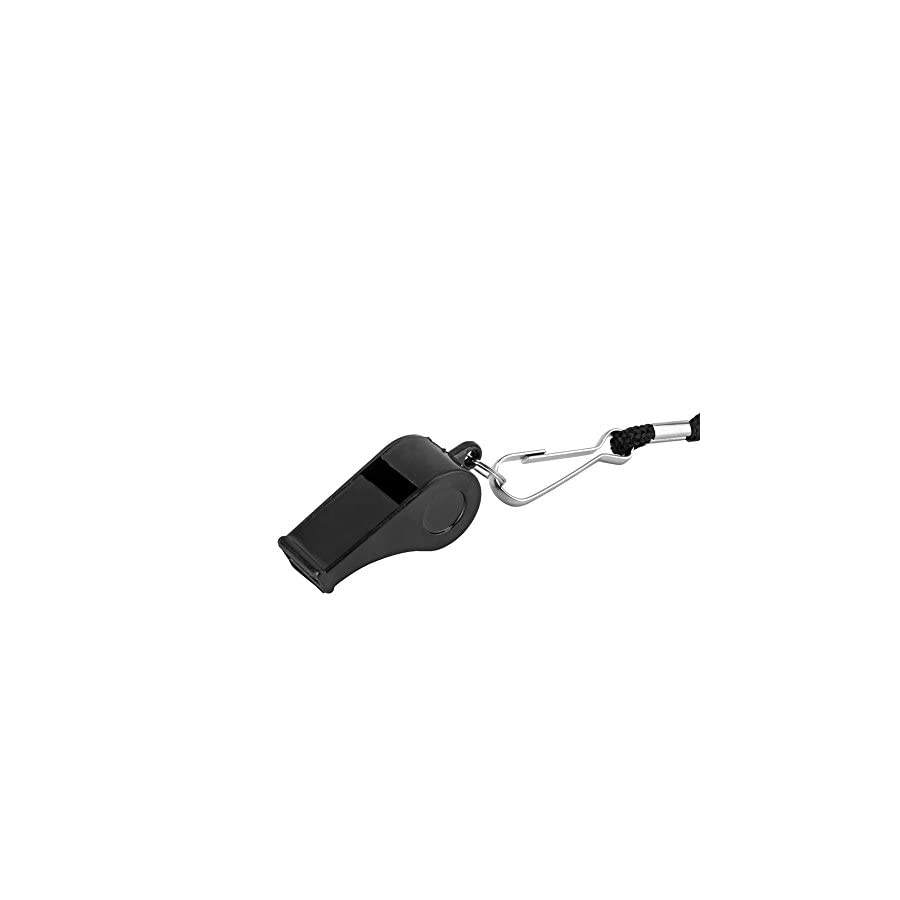 Ehdching 12 Pcs Black Loud Plastic Coach Whistles with Lanyard Fun Noise Making for Referees Coaches Sport Events Lifeguards Survival Emergency
