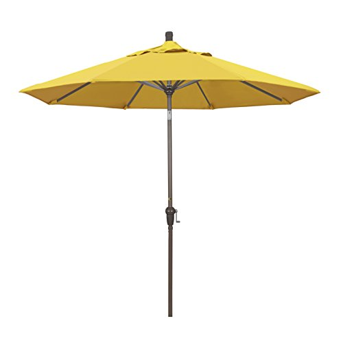 California Umbrella 9-Feet Olefin Fabric Aluminum Auto Tilt Market Umbrella with Champagne Pole, Lemon