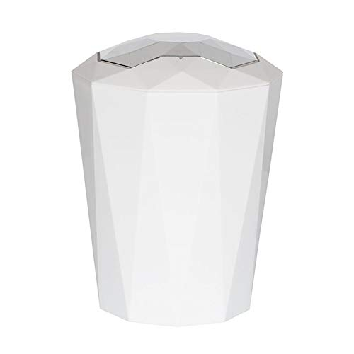 Wastebasket European Creative Diamond Rocker Plastic Trash, Modern Minimalist, Home Living Room Bedroom Kitchen Office Bathroom Trash Can, 5L Garbage Can (Color : White)