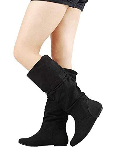 SODA Womens Zuluu Slouchy Faux Leather Knee HIgh Flats Boots