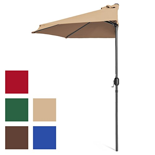 (Best Choice Products 9ft Steel Half Patio Umbrella w/Crank Mechanism, UV- and Water-Resistant Fabric - Tan )