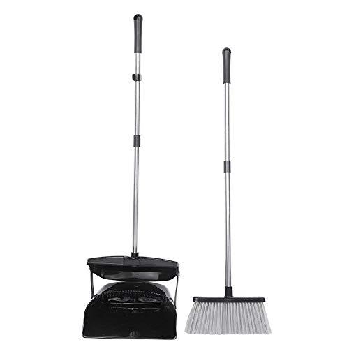 Bezem en Stofpan Set, Plastic Stofpannen met Borstel Lange Handvat Opvouwbare Huishoudelijke Reinigingsbenodigdheden…