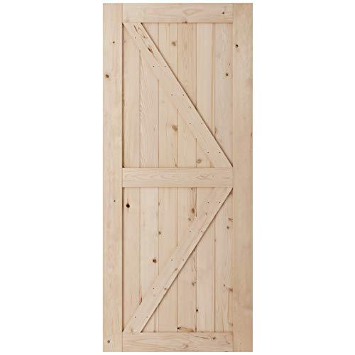 SmartStandard 36in x 84in Sliding Barn Wood Door Pre-Drilled Ready to Assemble, DIY Unfinished Solid Hemlock Wood Panelled Slab, Interior Single Door Only, Natural, K-Frame (Fit 6FT-6.6FT Rail) (Solid Wood Interior Doors)