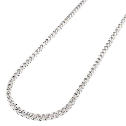 (Sterling Silver Italian 2.5mm Solid Franco Square Box Link 925 Rhodium Necklace Chain 16