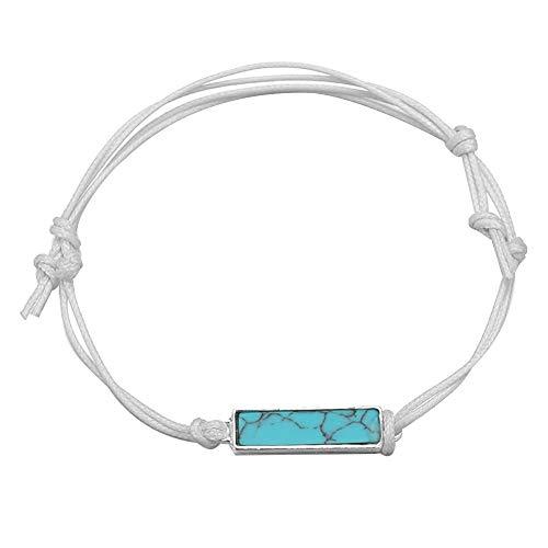 - DFYtr511po Fashion Ethnic Wind Bracelet Summer Beach Female Retro Square Turquoise Bracelet Handmade Woven Female Jewelry White