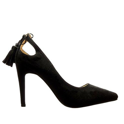 Angkorly - Zapatillas de Moda Tacón escarpín stiletto sexy mujer pompom fleco Talón Tacón de aguja alto 10 CM - Negro