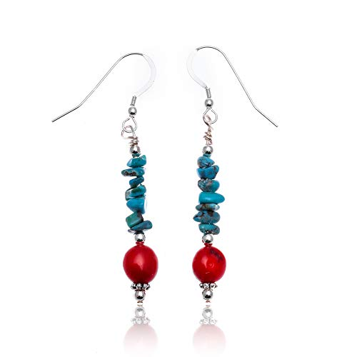 $70Tag Turquoise Coral Silver Hooks Certified Navajo Native Dangle Earrings 18070 Made By Loma Siiva