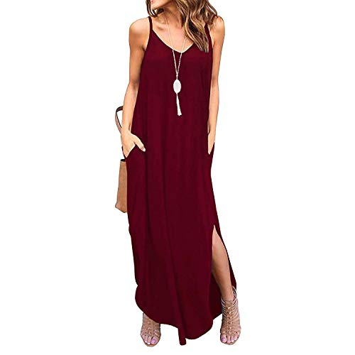 - Century Star Women's Long Cami Maxi Dress Loose Spaghetti Strap Dress with Pockets Casual Beach Cover Up Wine Red Large