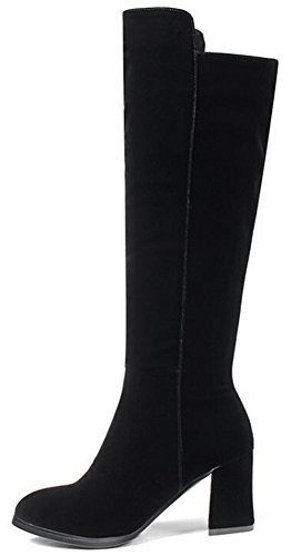 IDIFU Womens Classic Faux Suede Side Zipper Knee High Boots Long Riding Booties With Mid Chunky Heels Black FvkP67NFl