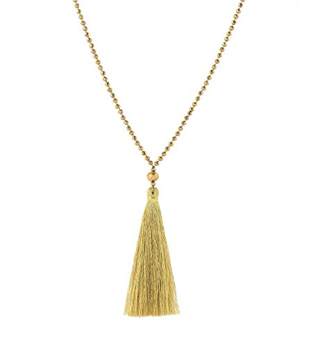Isaloe Tassel Pendant Necklace Glass Beaded Long Necklaces for Women Y Shaped Handmade Sweater Necklaces Chain (Gold Glass Beaded Necklace)