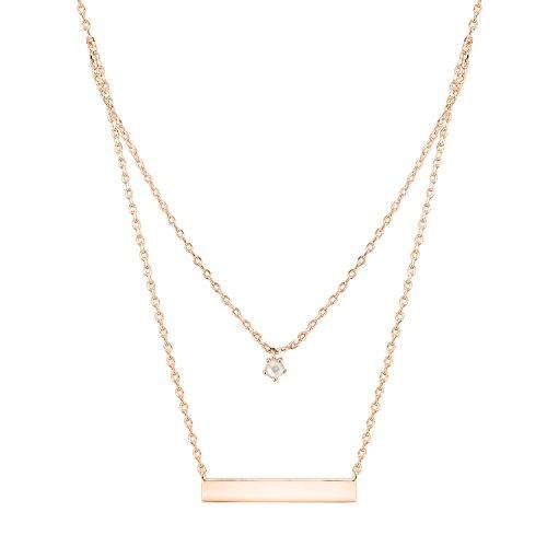 PAVOI 14K Rose Gold Plated Swarovski Crystal Birthstone Bar Necklace Pendant Engraveable June (Pearl Bracelet Pearl American)