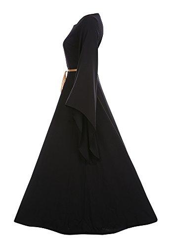 Plus Size Dancing Queen Costume (Lynwitkui Women Renaissance Medieval Costume Dress Long Sleeve Cosplay Dress)