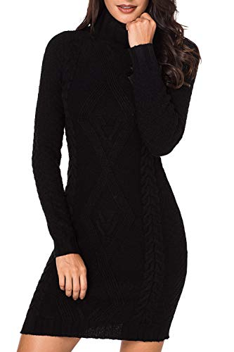 LaSuiveur Women's Slim Fit Cable Knit Long Sleeve Sweater Dress (S, Black Turtleneck)