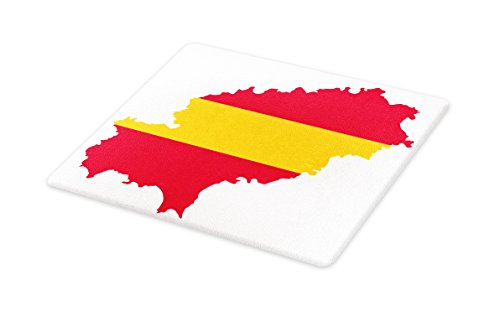 Lunarable Ibiza Cutting Board, Balearic Island Map with Spain Flag Pattern Exotic Ibiza Holiday Theme, Decorative Tempered Glass Cutting and Serving Board, Large Size, Yellow and Dark Coral by Lunarable