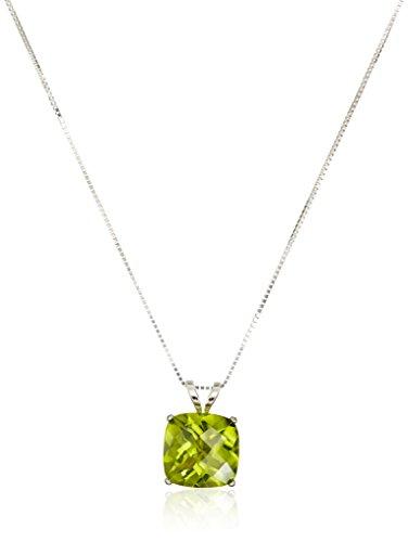 Gold Peridot Necklace - 14k White Gold Cushion Checkerboard Cut Peridot Pendant Necklace (8mm)