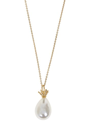 Long Pearl Drop and Crown Pendant Necklace, Handmade Artisan 14K Gold Plated - Gold Pendant Plated Drop