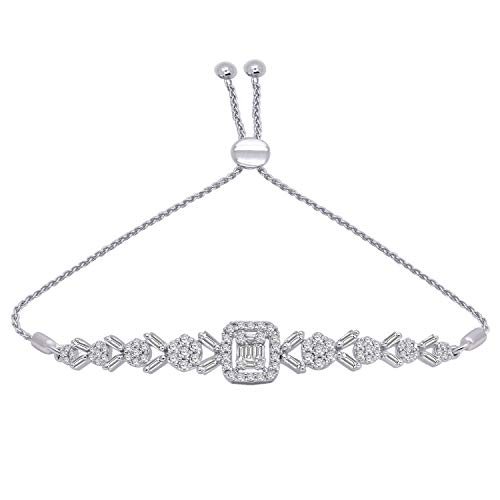OMEGA JEWELLERY 0.98 Ct Round & Baguette Shape Real Diamond Halo Cluster Bolo Bracelet in 10K Gold (White-Gold)