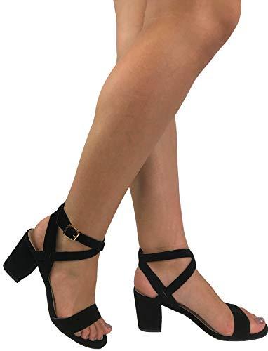 Studio Womens Heels Black Sandals (Over The Toe Strap Ankle Wrap Strap Heel Open Toe Medium Heel, Black, 6)