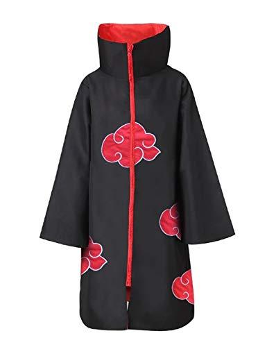 SAFTYBAY Unisex Akatsuki Cloak Akatsuki Robe Halloween Naruto Anime Cosplay Itachi Costume Uniform for Adults and Kids