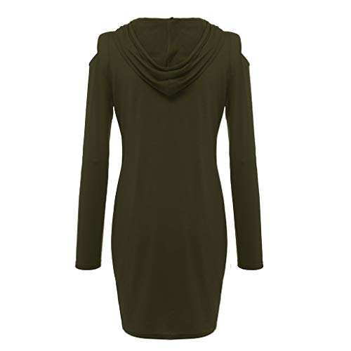 Mlide Women Off-The-Shoulder Mini Dress With Pocket,Long Sleeve Strapless Hooded A-Line Dress(Army Green,Medium) by Mlide (Image #3)