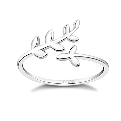 925 Sterling Silver Laurel Wreath Leaf Branch Ring Adjustable Open Promise Wedding Engagement Anniversary Rings for Women Girls Teens