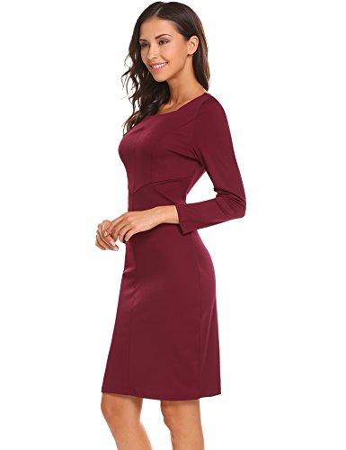 Scollo Manica Indossare Vita Quadrato Aderente Rosso Elastico Al Lavoro In Lunga Delle Donne Vestito Vino Angvns E4qga