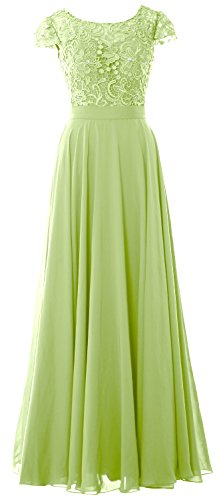 MACloth Women Cap Sleeve Mother of Bride Dress Vintage Lace Evening Formal Gown Pistachio