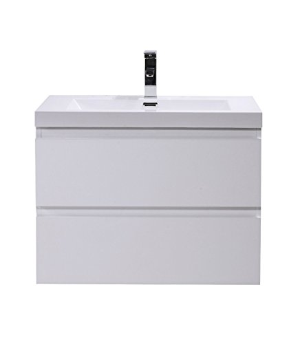 - Mars 30'' Wall Mounted Modern Bathroom Vanity with Reinforced Acrylic Sink (High Gloss White)