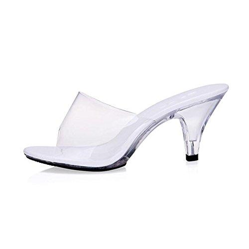 Indossano Scarpe In Centimetri Da Bianco All'aperto Posto Sala Pantofole Da Che 7 Di Donna Ballo Sandali Alti Trasparente Lavoro Cristallo Tacchi dztqwaH