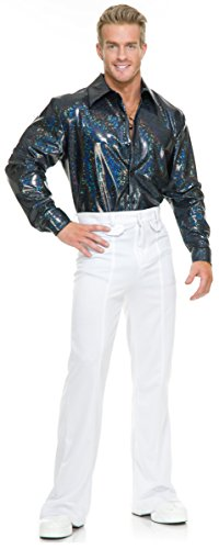 1970 Pimp Costumes (Night Lights Disco Shirt Adult Costume Blue - Small)