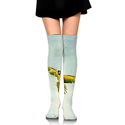 Yellow Parrots Fly Sky Leisure Crew Top Socks,Tube Over Knee Nursing Compression Long Socks,3D Printed Sports For Girls&Women