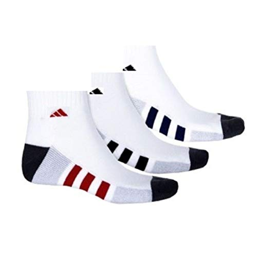 - Adidas Men's Athletic Moisture wicking Cushioned Quarter-Cut White/Blue/Red Socks 3-Pack/ 3-Pair (Shoe Size 6-12)
