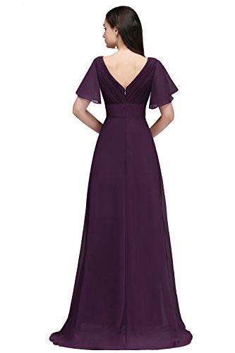 Avec Ruches Nu Demoiselle Col Robe Femme Longue Pour D'honneur Misshow Dos Mariage Violet V Soirée b7Yyfg6