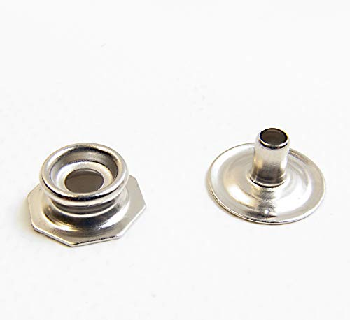 Pull The Dot Snap Fastener, Stud & Eyelet Only, Nickel Plated Brass, 10 Piece