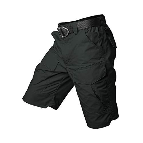 Summer Shorts Men Camouflage Sportswear Multi Pocket Paintball Cotton Cargo Shorts Waterproof,Black,XXL]()