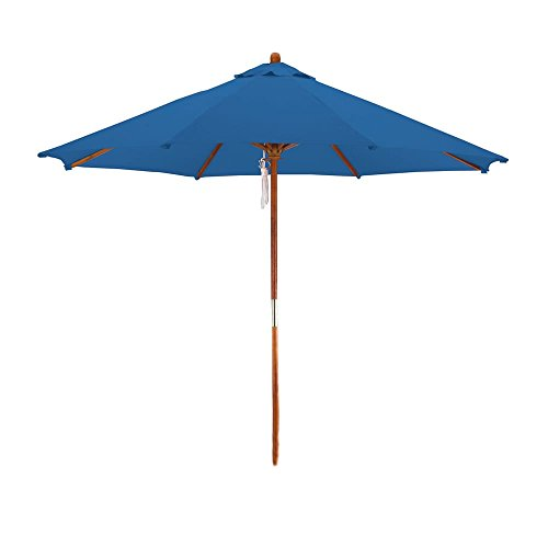 Fabric Suite - Astella PALM908-P01 Wood Market Umbrella with Pulley Open and Outdoor Rated Polyester Fabric, 9-Feet, Pacific Blue