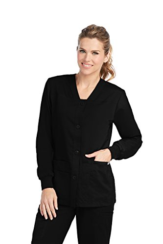 Grey's Anatomy Women's Junior Fit 4 Pocket Sport Button Front Scrub Jacket, Black, X-Large (Uniform Jacket Nursing)