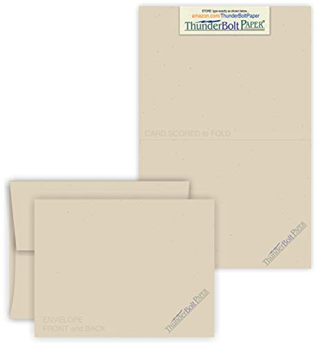 5X7 Folded Size with A-7 Envelopes - Driftwood Tan Fiber -25 Sets (7X10 Cards Scored to Fold in Half) Blank Pack -Invitations, Greeting, Thank Yous, Notes, Holidays, Weddings, Birthdays -80# Cardstock