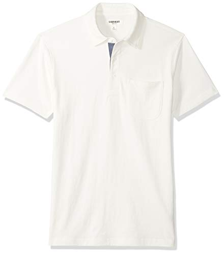Goodthreads Men's Short-Sleeve Sueded Jersey Polo, White, XX-Large Tall