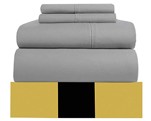 Urban Hut Egyptian Cotton Sheets Set (4 Piece) 800 Thread Count - Bedspread Deep Pocket Premium Bedding Set, Luxury Bed Sheets for Hotel and Home Collection Soft Sateen Weave (King, Silver Grey)
