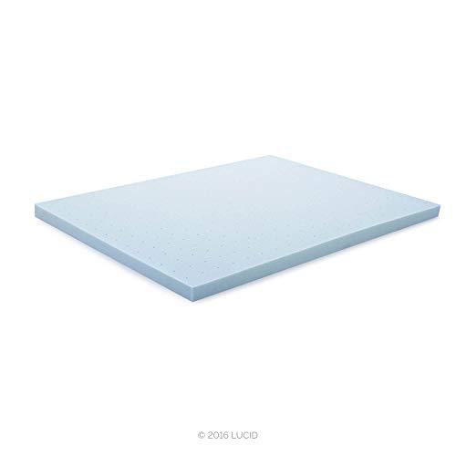 """LUCID 3"""" Gel Memory Foam Mattress Topper, Blue, King"""